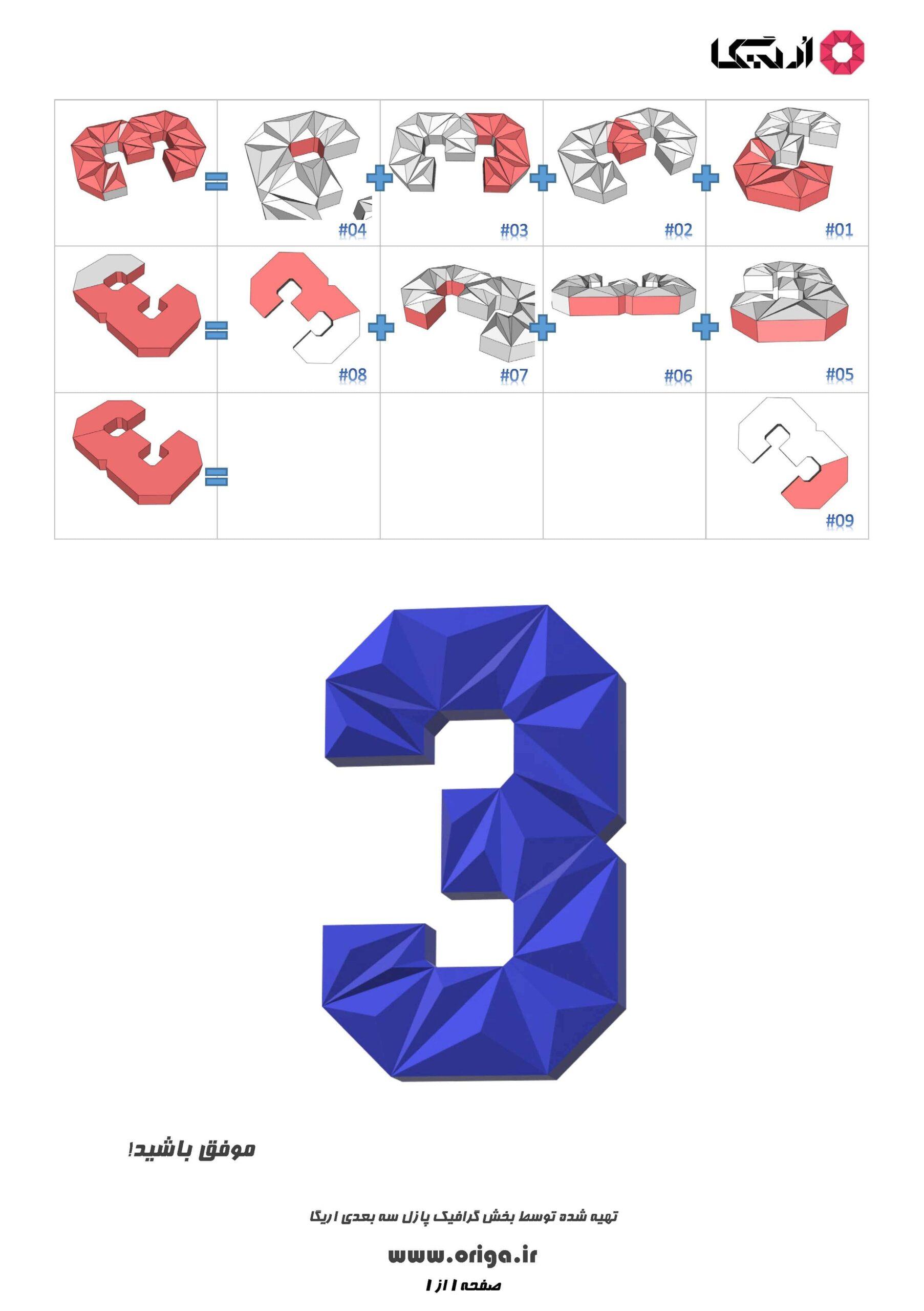 راهنمای ساخت عدد 3